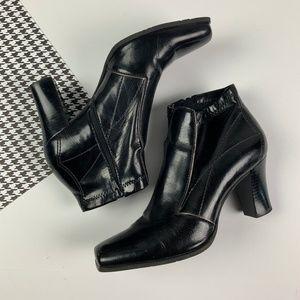 Shiny Black Leather Boots Booties Franco Sarto 6